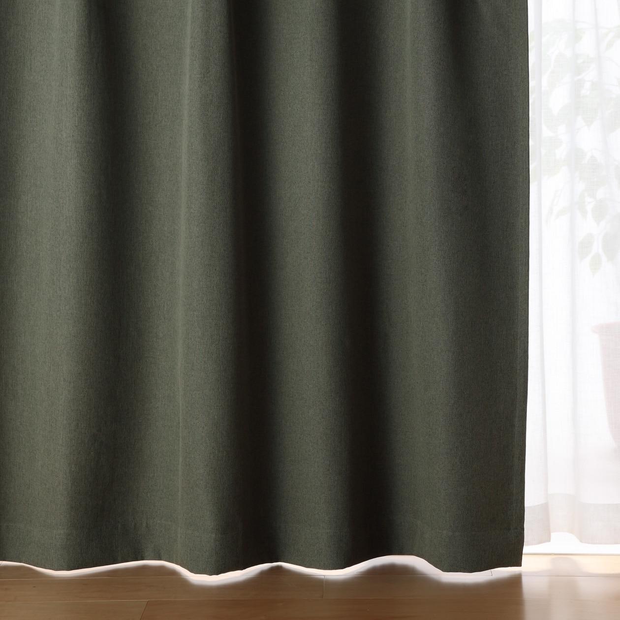 ポリエステルドビー織(防炎・遮光性)プリーツカーテン/ベージュ 幅100×丈178cm./グリーン