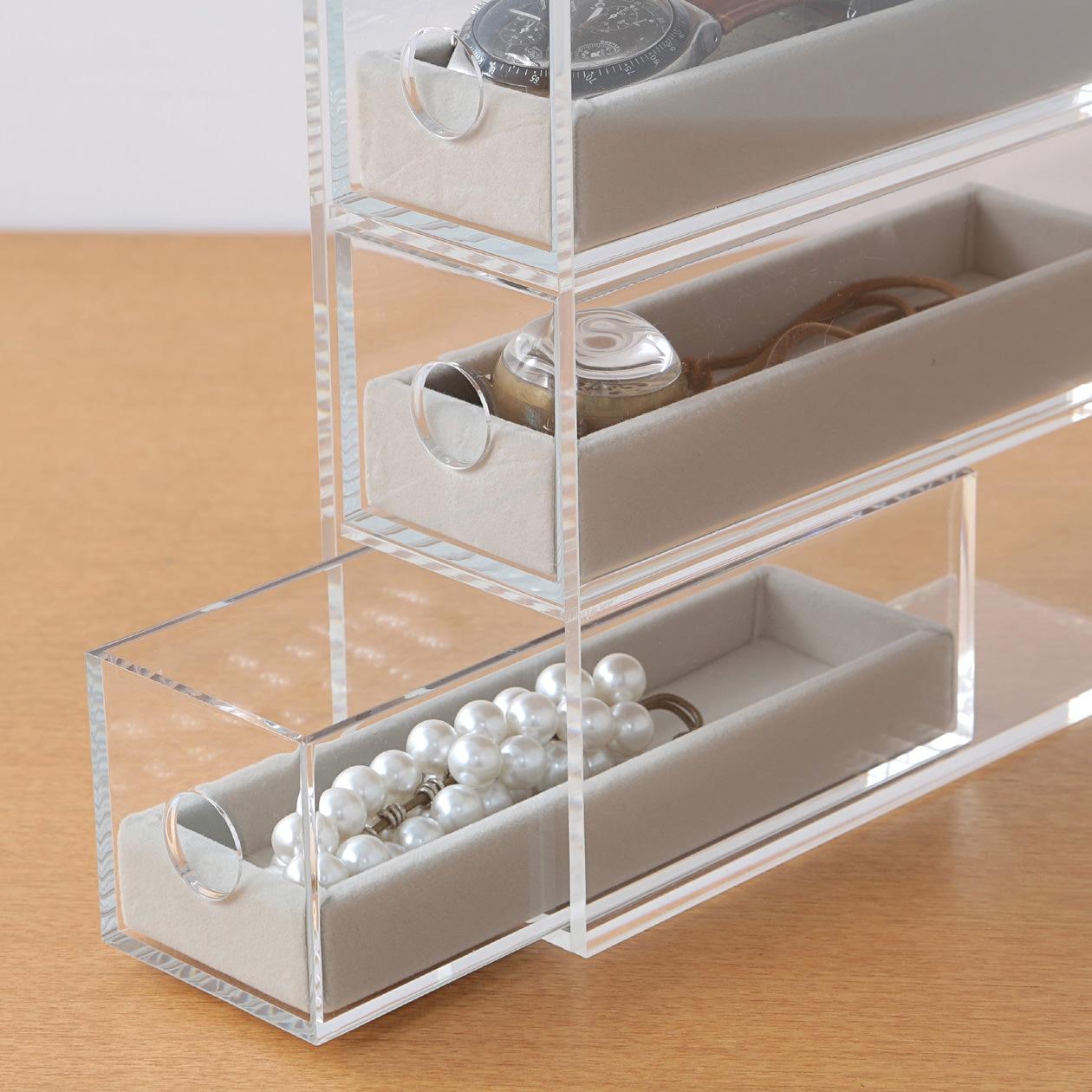 壓克力眼鏡小物收納架灰絨內盒 灰約5x16 5x2cm 無印良品
