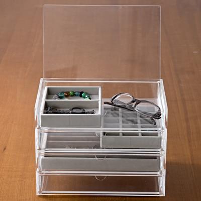 アクリルケース用・ベロア内箱仕切・大・ネックレス用・グレー 約幅23.5×奥行15.5×高さ2.5