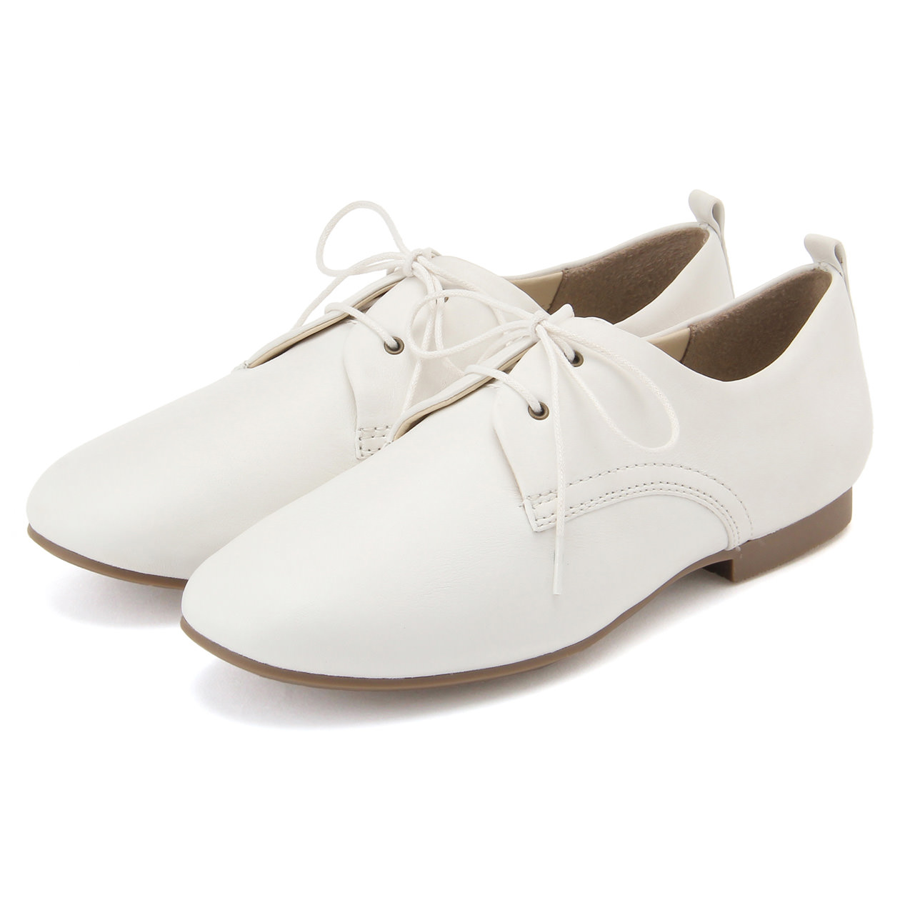 LEATHER LACE UP SHOES 25cm OFF WHITE