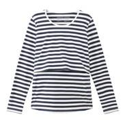 オーガニックコットン混天竺授乳に便利な長袖Tシャツ