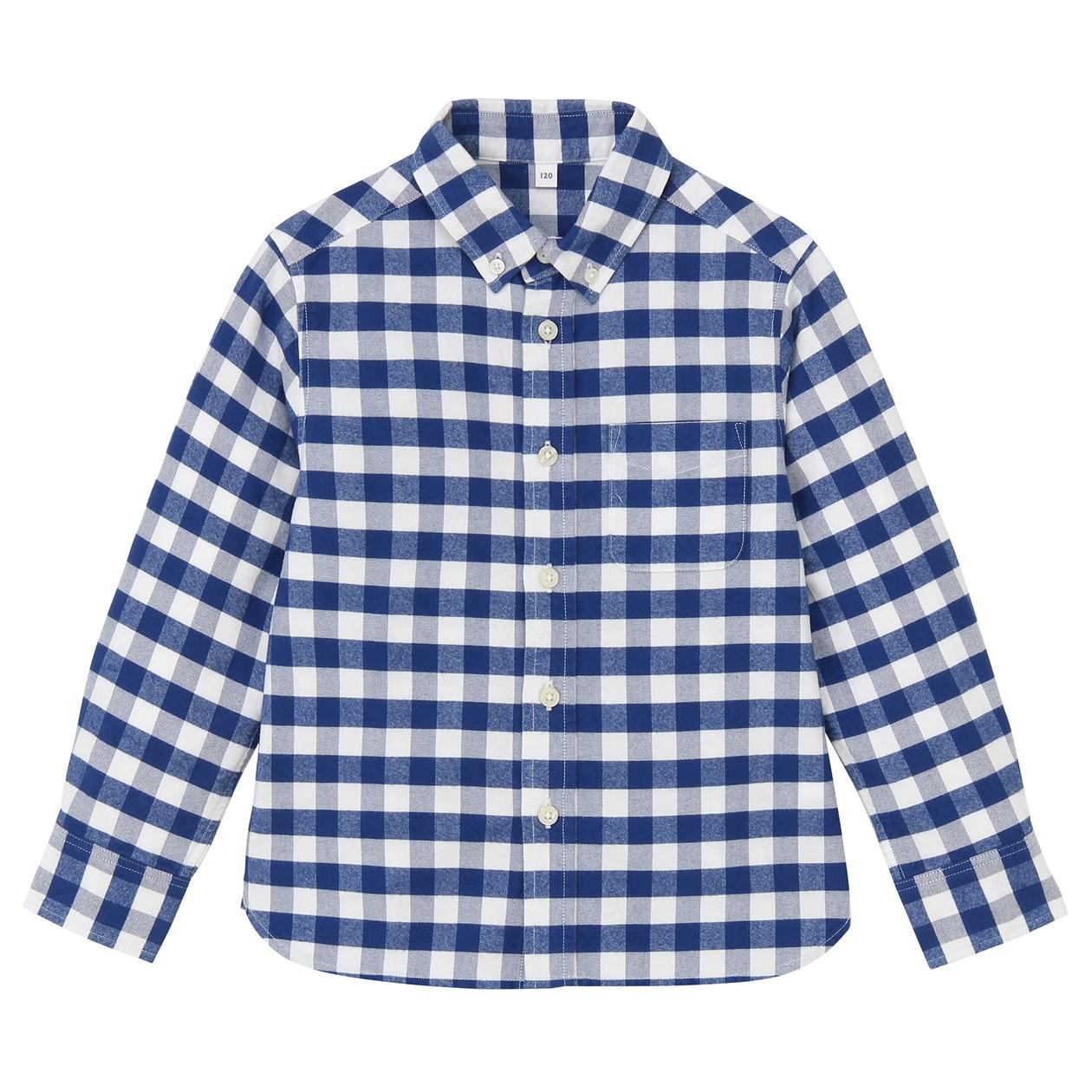 Organic Cotton Oxford Button Down Shirt Kids120 Blue Check