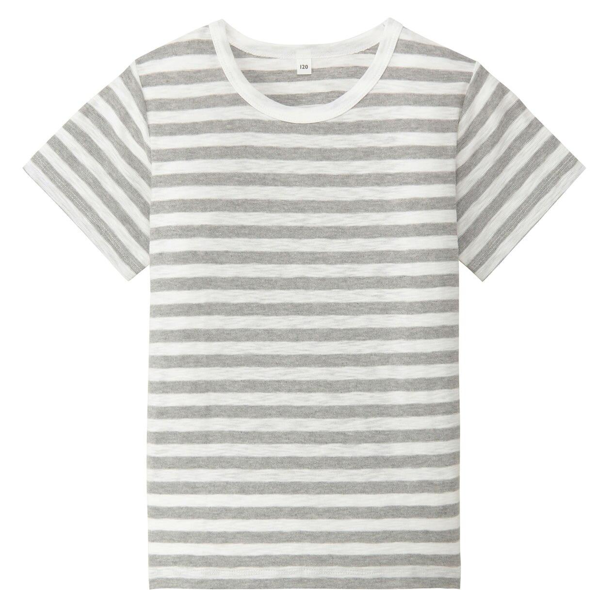 毎日のこども服オーガニックコットンスラブボーダー半袖Tシャツ(キッズ)