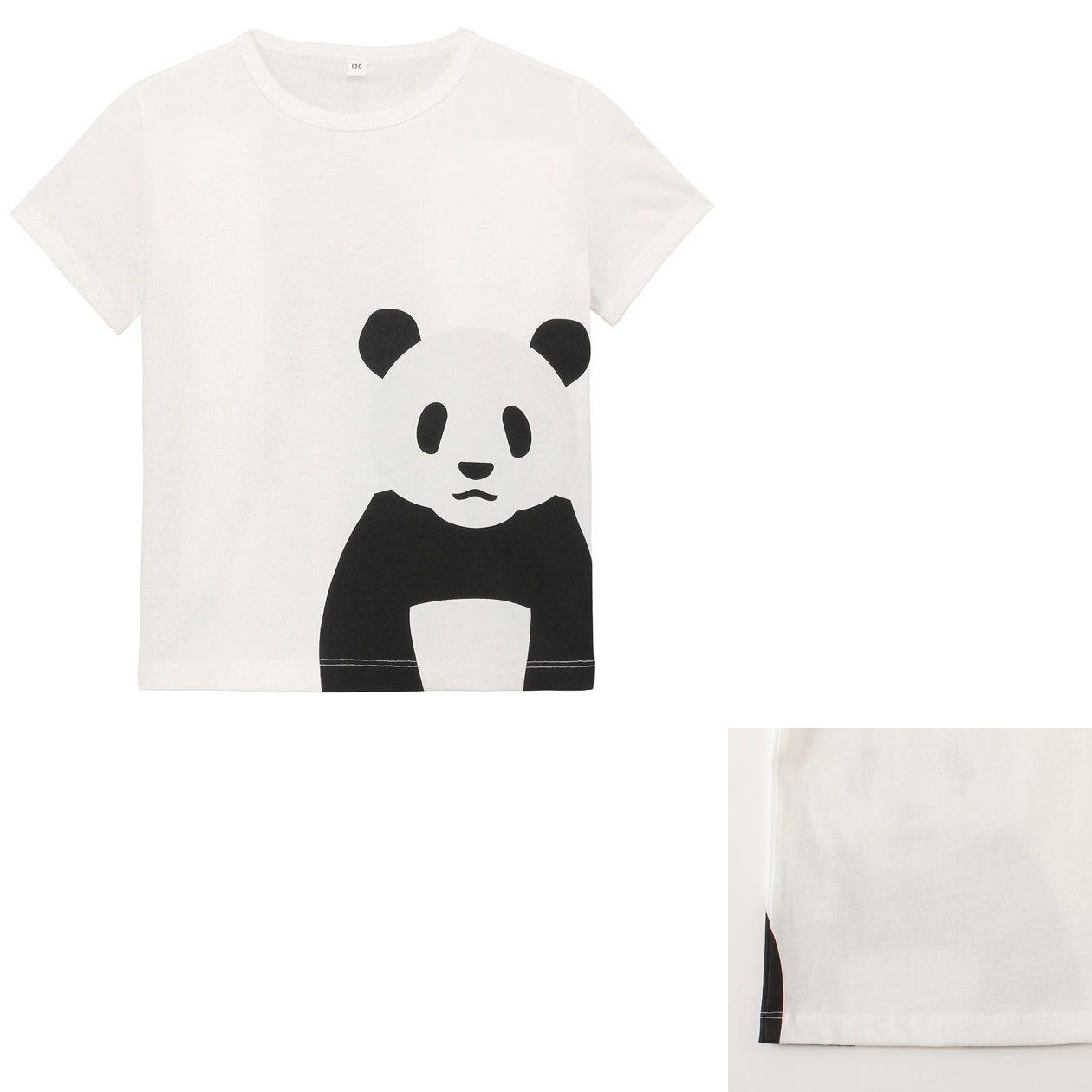Organic cotton printed t shirt kids 120 giant panda muji for Organic cotton t shirt printing