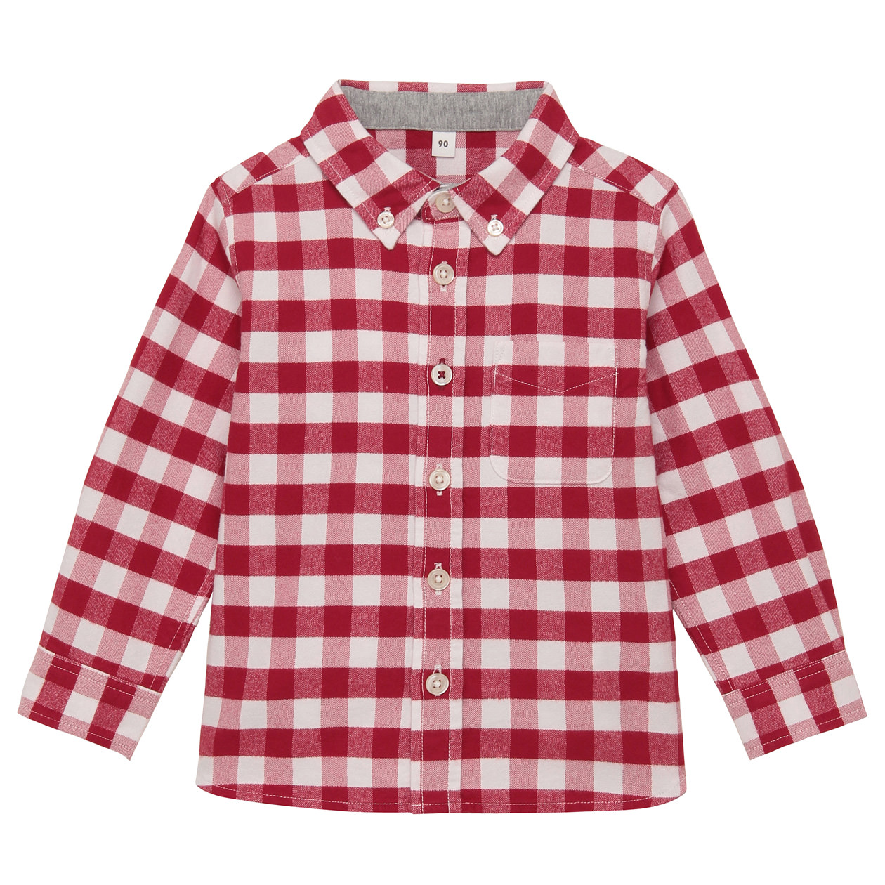 Organic Cotton Oxford Button Down Shirt Baby 100 Red Check