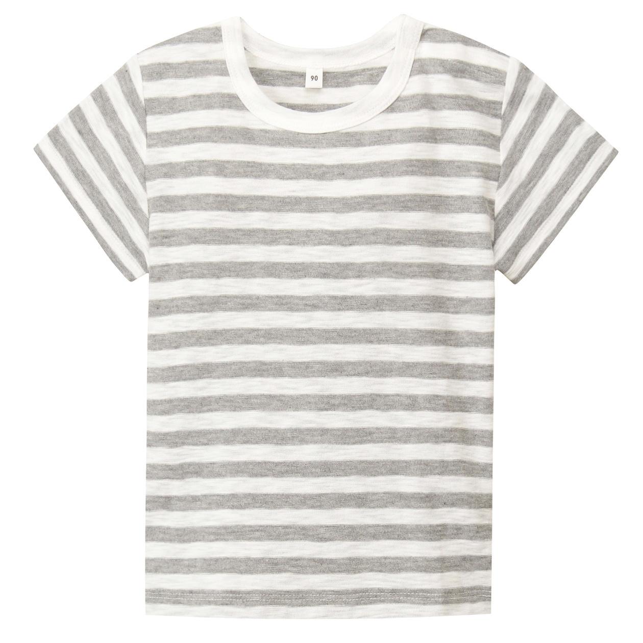 毎日のこども服オーガニックコットンスラブボーダー半袖Tシャツ(ベビー)