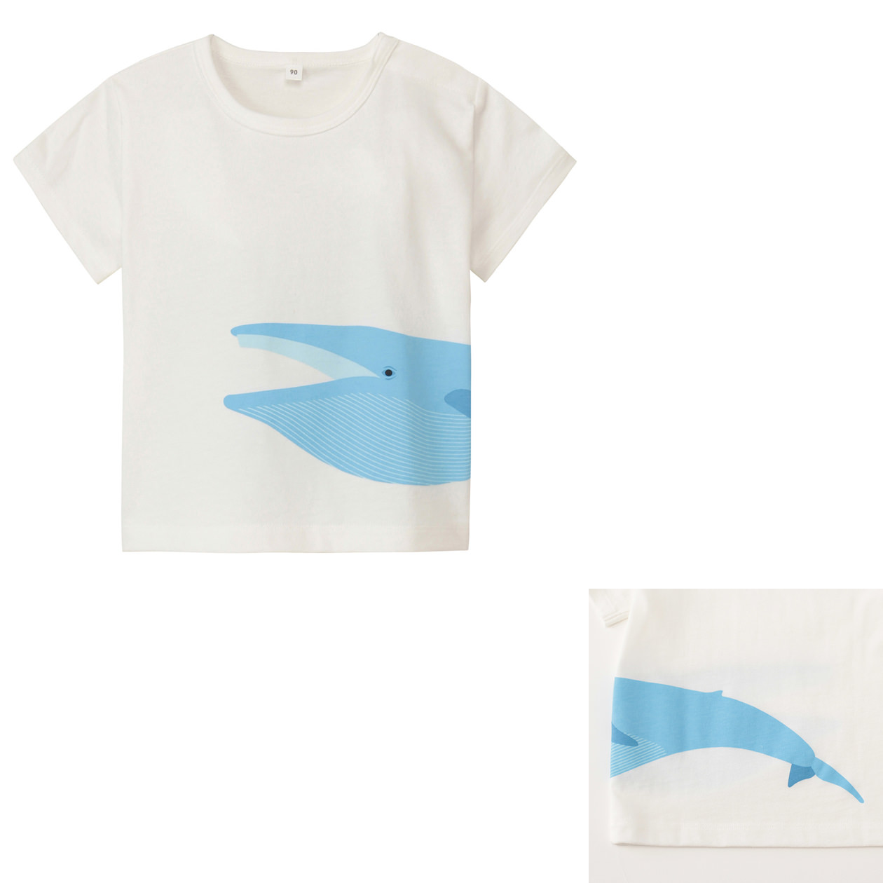 Organic cotton printed t shirt baby 90 blue whale muji for Sustainable t shirt printing