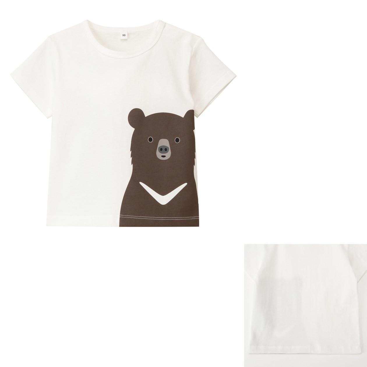 Organic cotton printed t shirt baby 80 ursus thibetanus muji for Sustainable t shirt printing