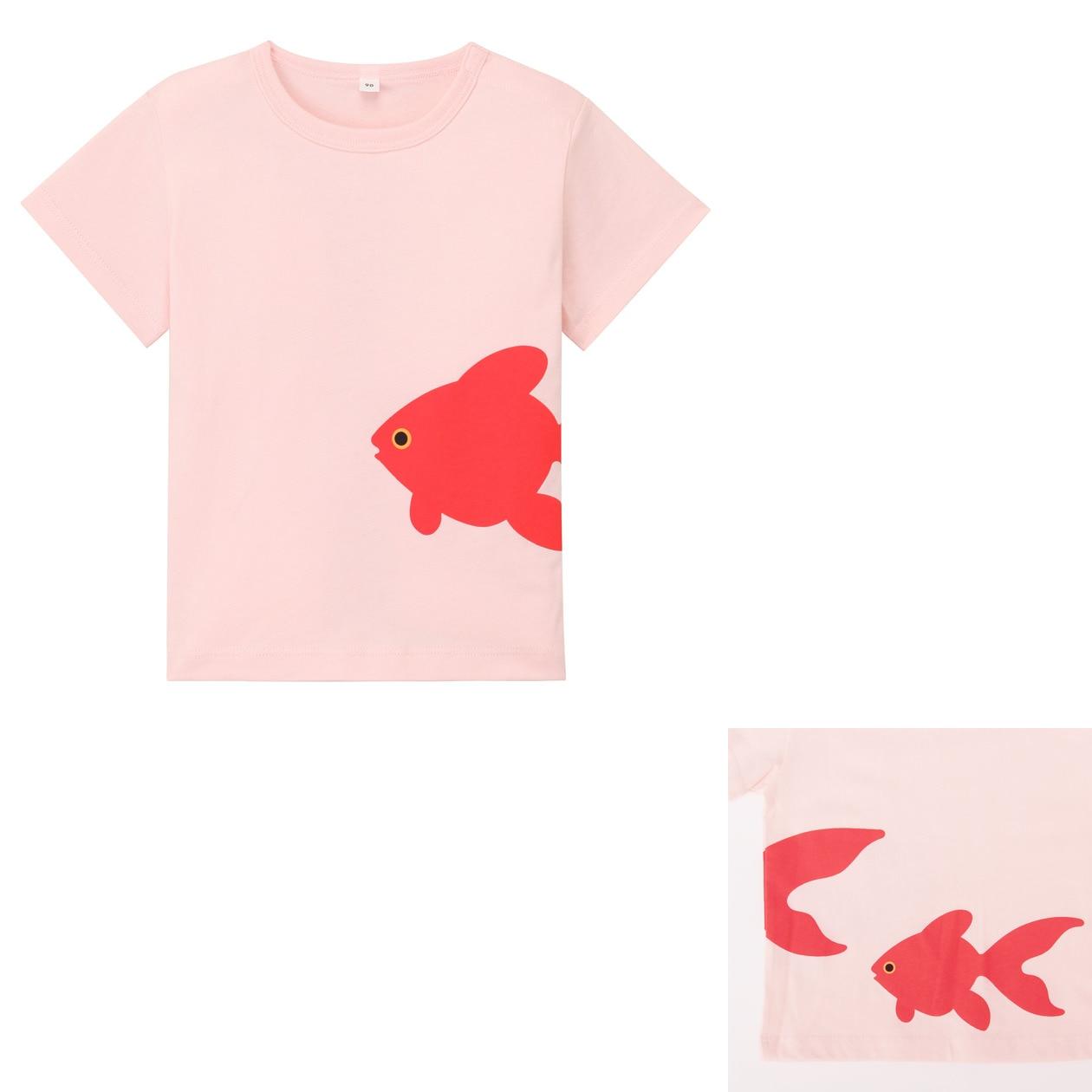 Organic cotton printed t shirt baby 100 goldfish muji for Sustainable t shirt printing