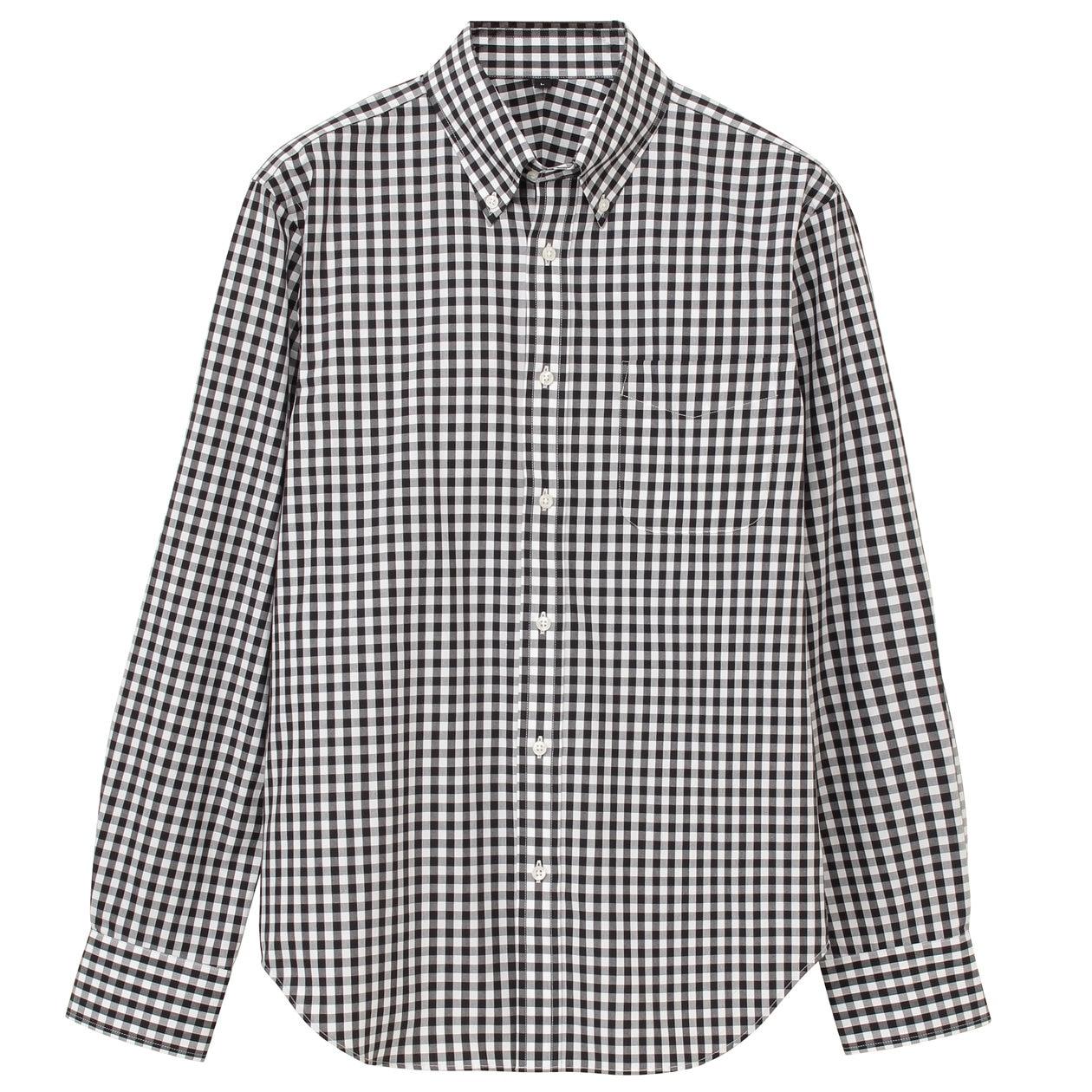 オーガニックコットンブロードチェック形態安定ボタンダウンシャツ