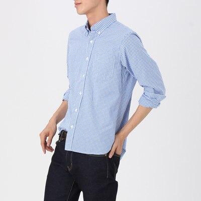 Ogc oxford gingham button down shirt men m black muji for Black oxford button down shirt