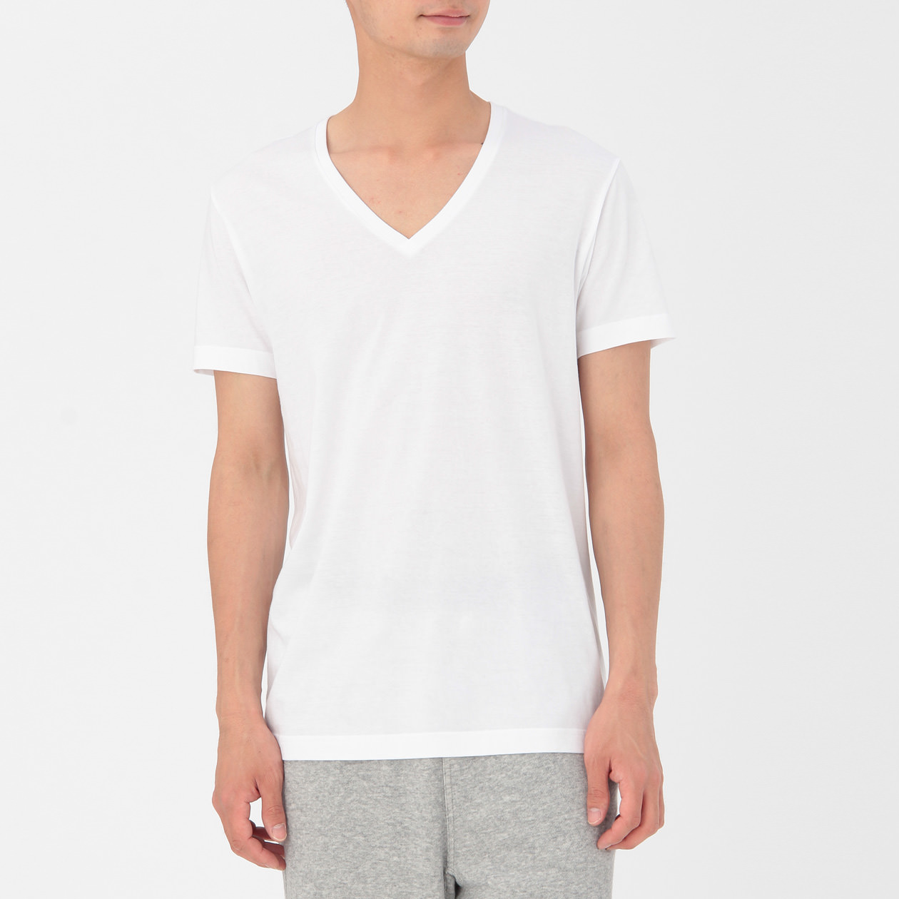 organic cotton v neck t shirt 2pack men xs white muji. Black Bedroom Furniture Sets. Home Design Ideas