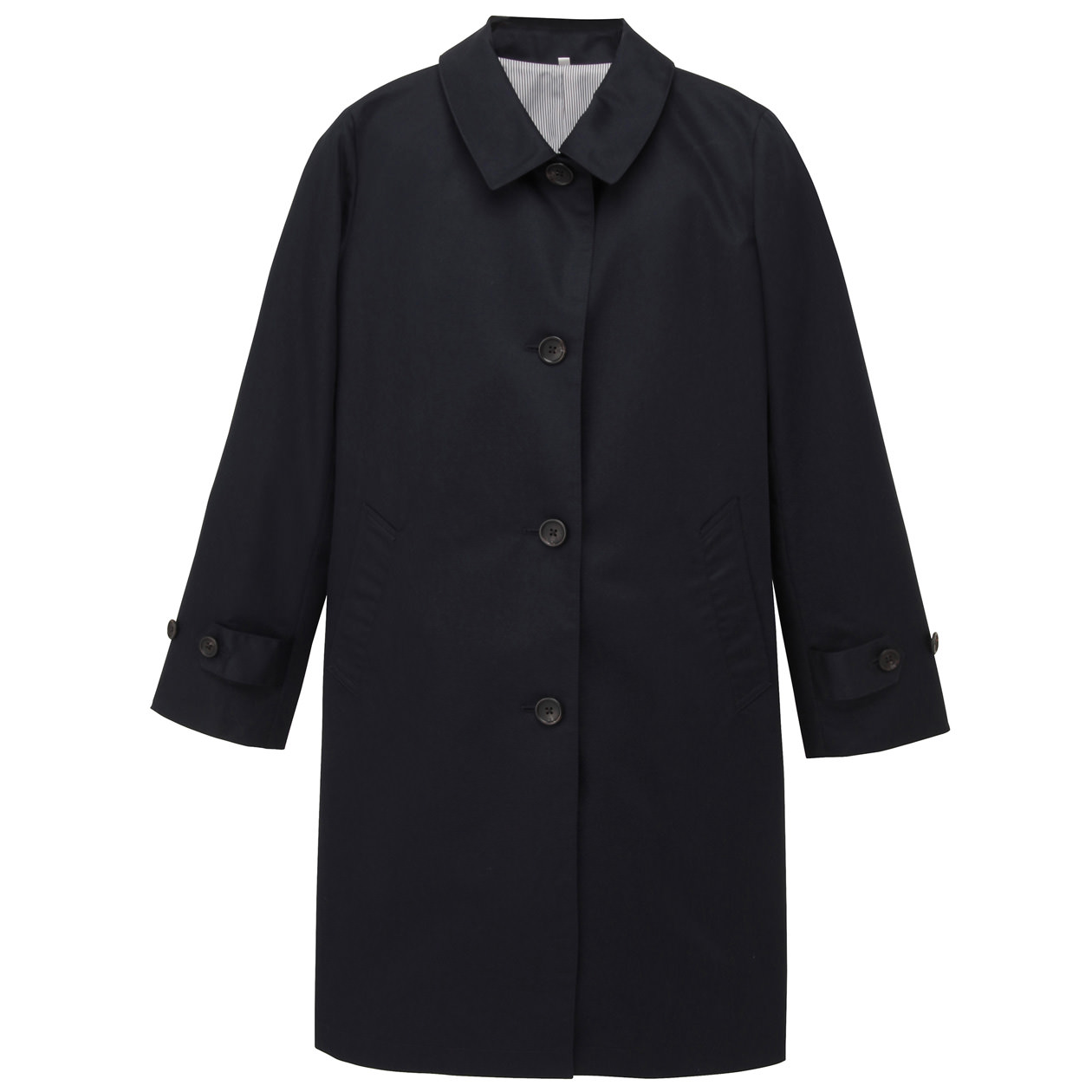 ladies 39 cotton mix stand fall collar coat muji. Black Bedroom Furniture Sets. Home Design Ideas