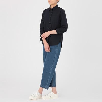 無印良品 | オーガニックコットン洗いざらしブロードシャツ紳士XS・ブルー 通販