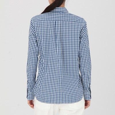 美品 無印良品 細身タイト 半袖シャツ Sサイズ 白色×紺色 ギンガムチェック柄