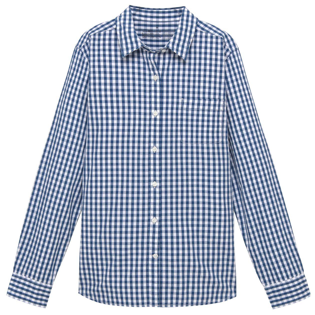オーガニックコットン洗いざらしギンガムチェックシャツ 婦人S・ブルー コンビニ受取可
