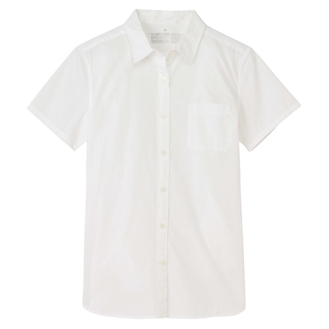 オーガニックコットン洗いざらしブロード半袖シャツ