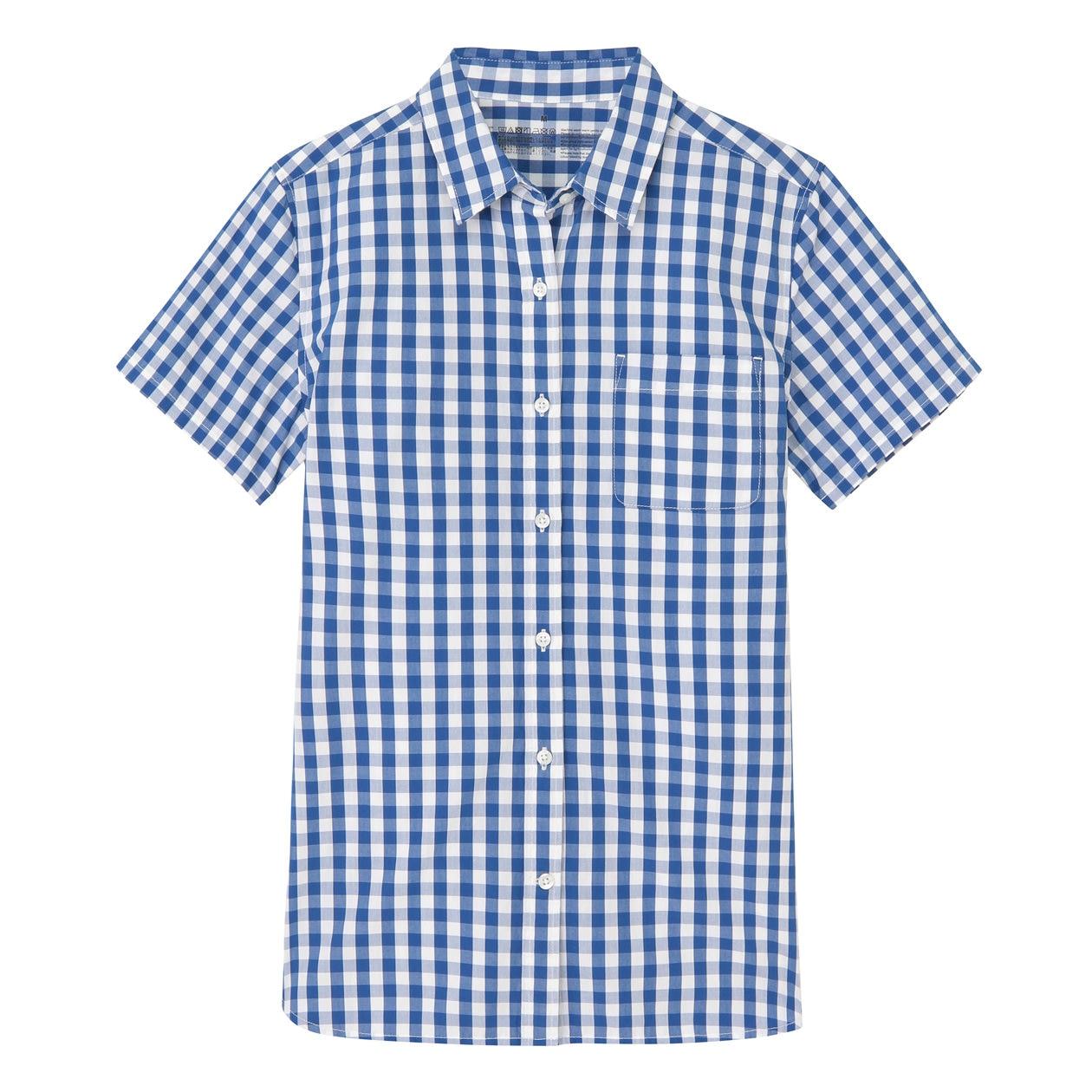 オーガニックコットン洗いざらしチェック半袖シャツ