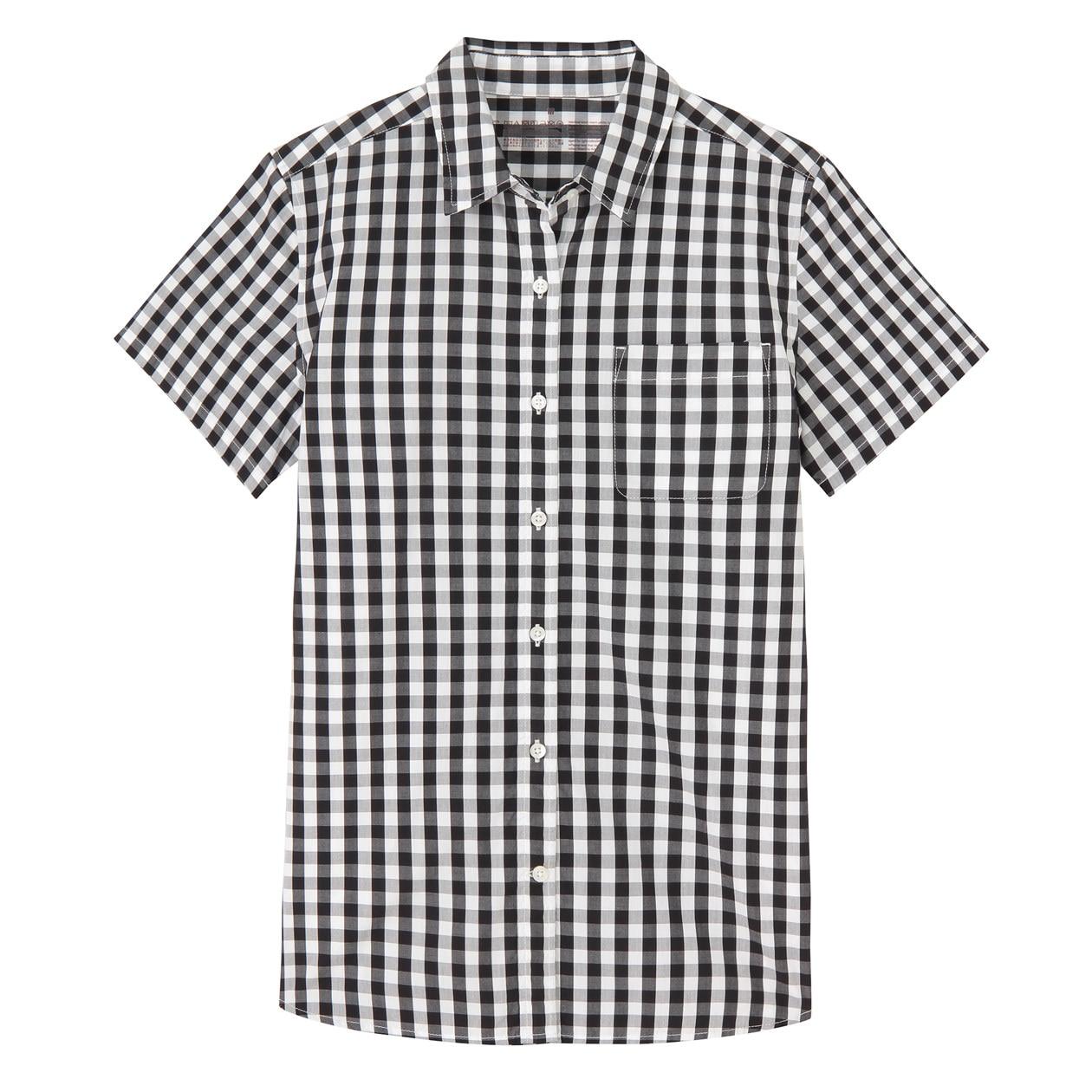 新疆綿洗いざらしブロードギンガムチェック半袖シャツ