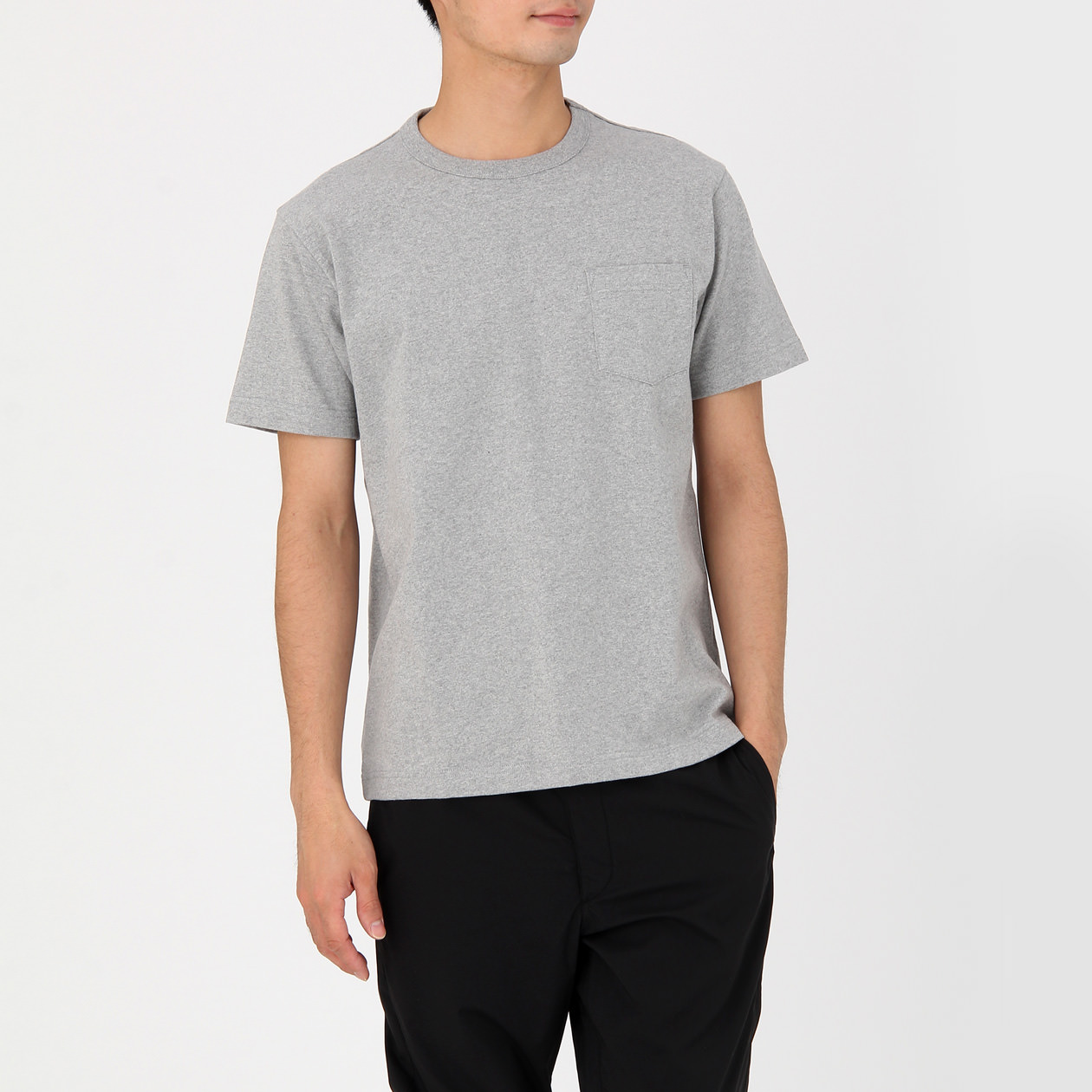 オーガニックコットン太番手クルーネック半袖Tシャツ