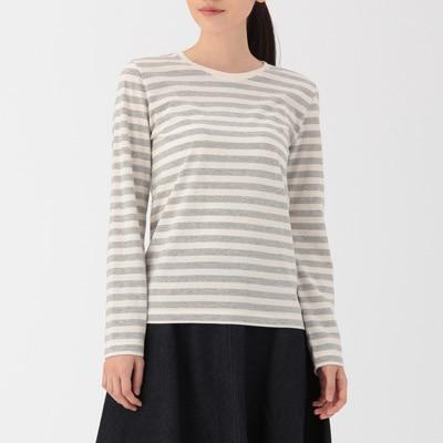 無印良品 | オーガニックコットンクルーネック長袖Tシャツ(ボーダー)婦人XS・白×ライトグレー 通販