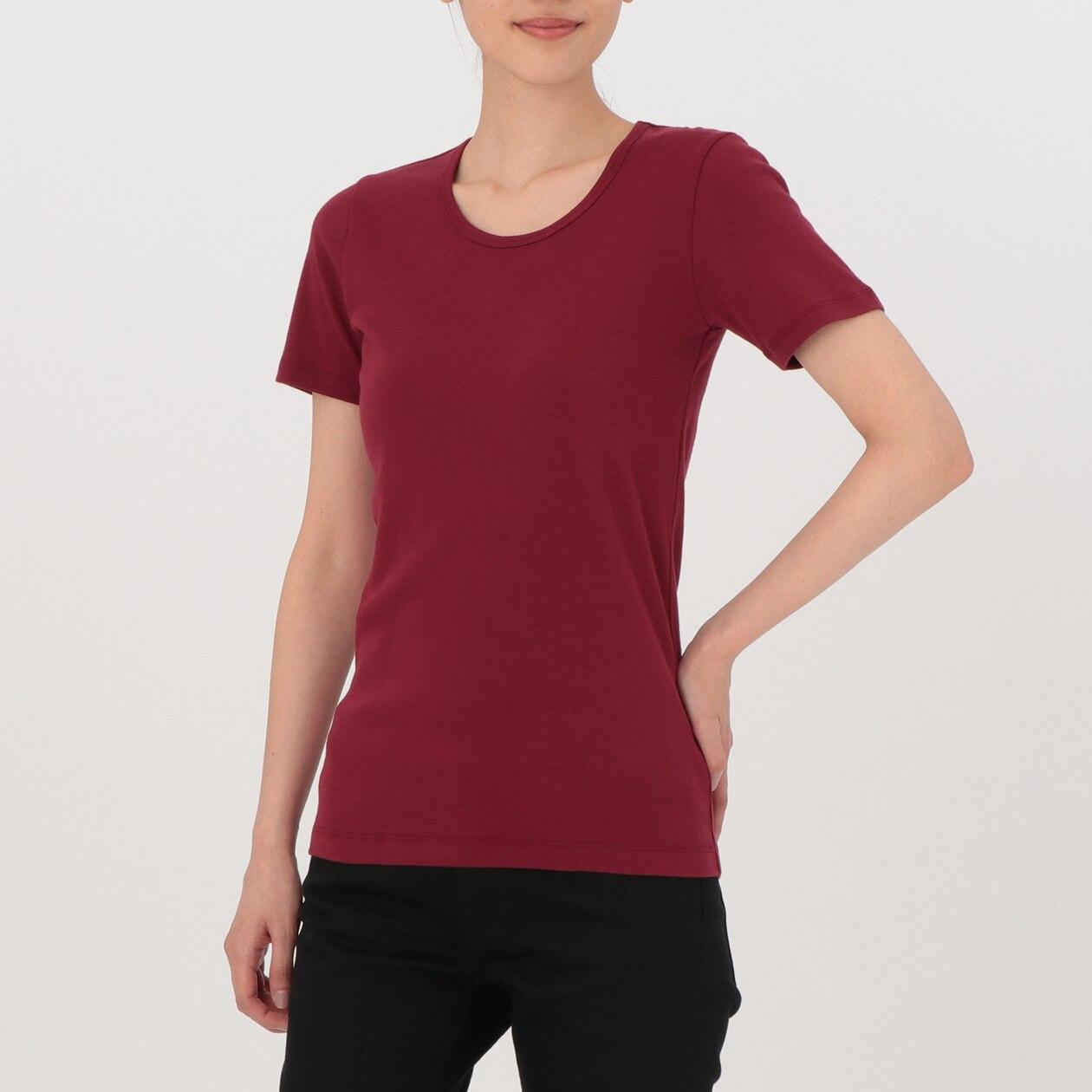 オーガニックコットンフライス編みクルーネック半袖Tシャツ