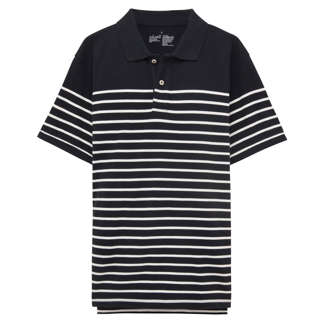 Men 39 s organic cotton stripe pique polo shirt muji for Stiff collar polo shirt