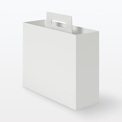 ポリプロピレン持ち手付きファイルボックス・スタンダードタイプ・ホワイトグレー 約幅10×奥行32×高さ28.5cm コンビニ受取可