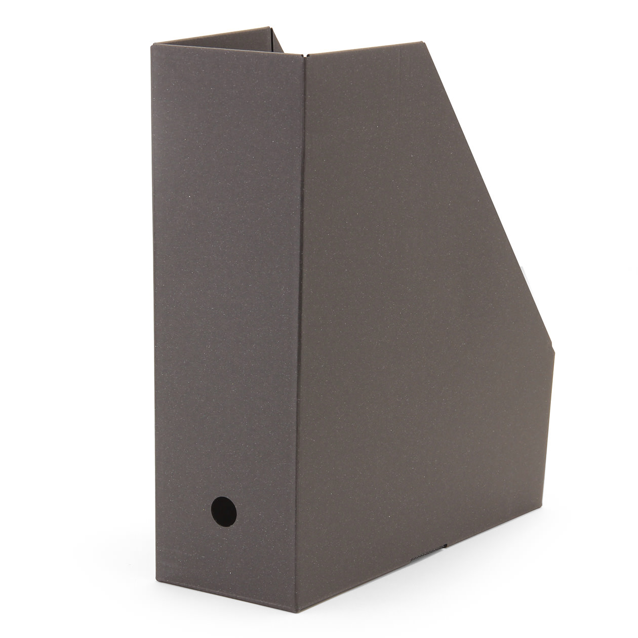 ワンタッチで組み立てられるダンボールスタンドファイルボックス A4用・5枚組・ダークグレー