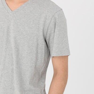 オーガニックコットンVネック半袖Tシャツ【サイズ拡大】 紳士XXL・オフ白 コンビニ受取可