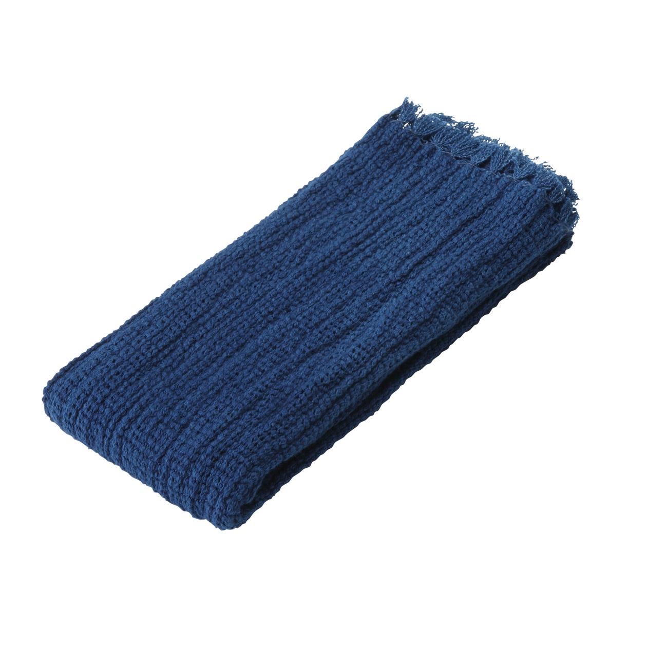 インドオーガニックコットンメッシュ藍染フェイスタオル