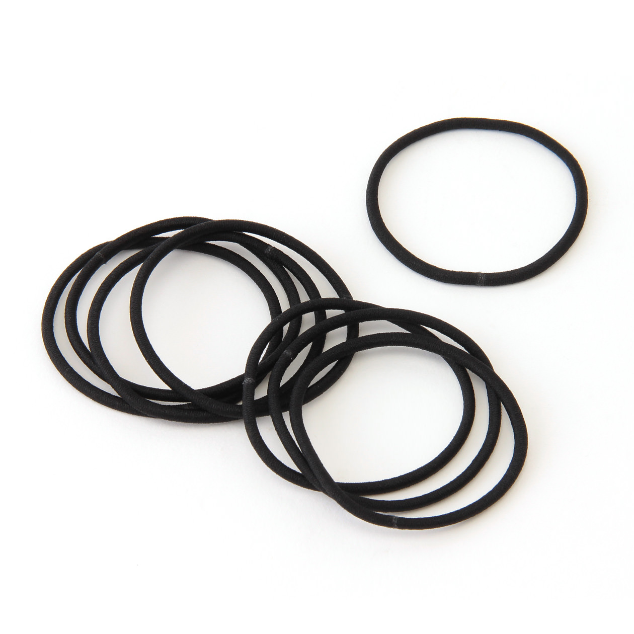 Hair Rubber Band Slim Black 8pcs Muji