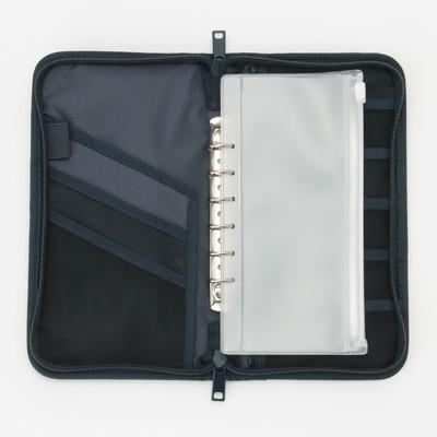 ポリエステルパスポートケース・クリアポケット付 ネイビー・約23.5×13×2.5 コンビニ受取可