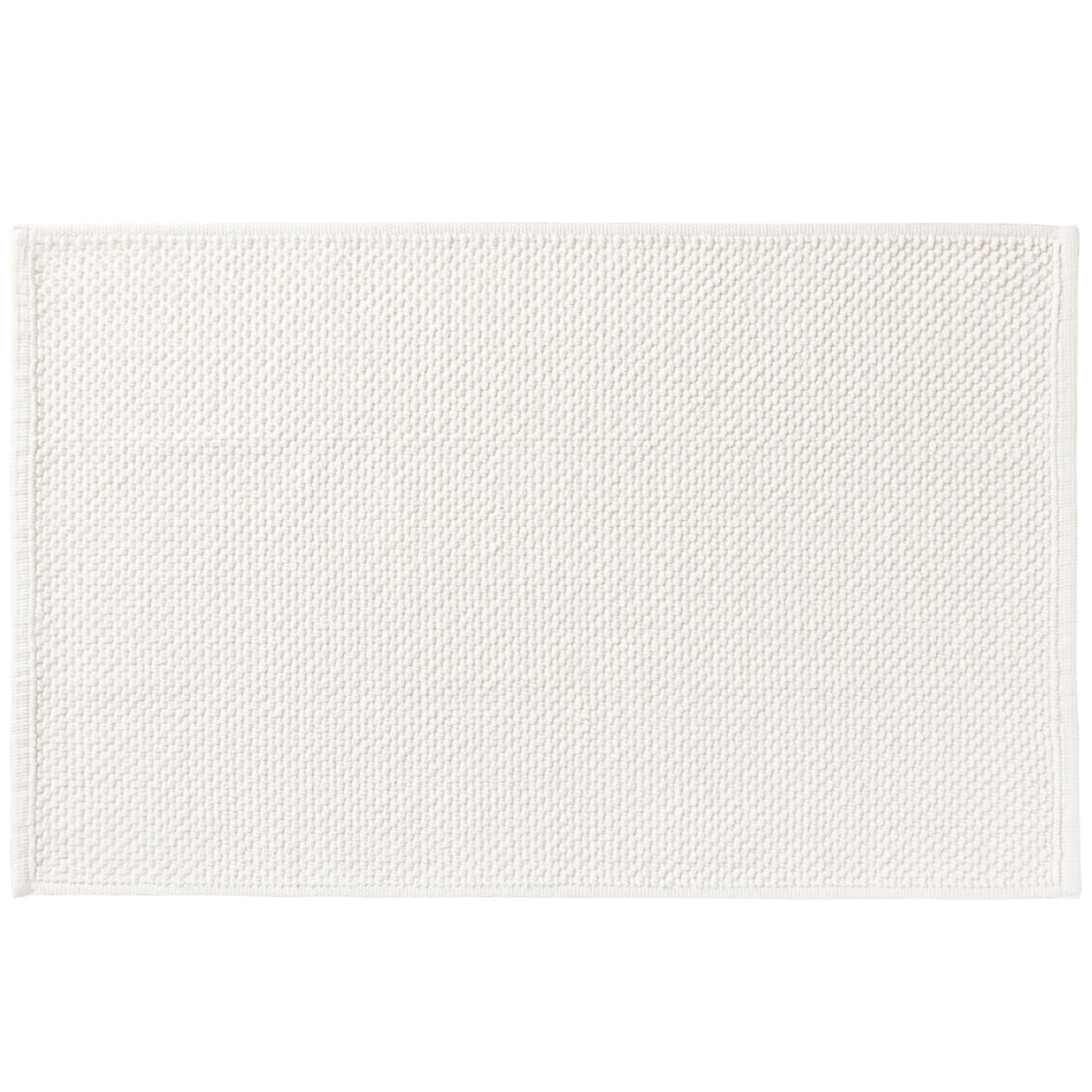 インド綿手織パイルバスマット・S/オフ白