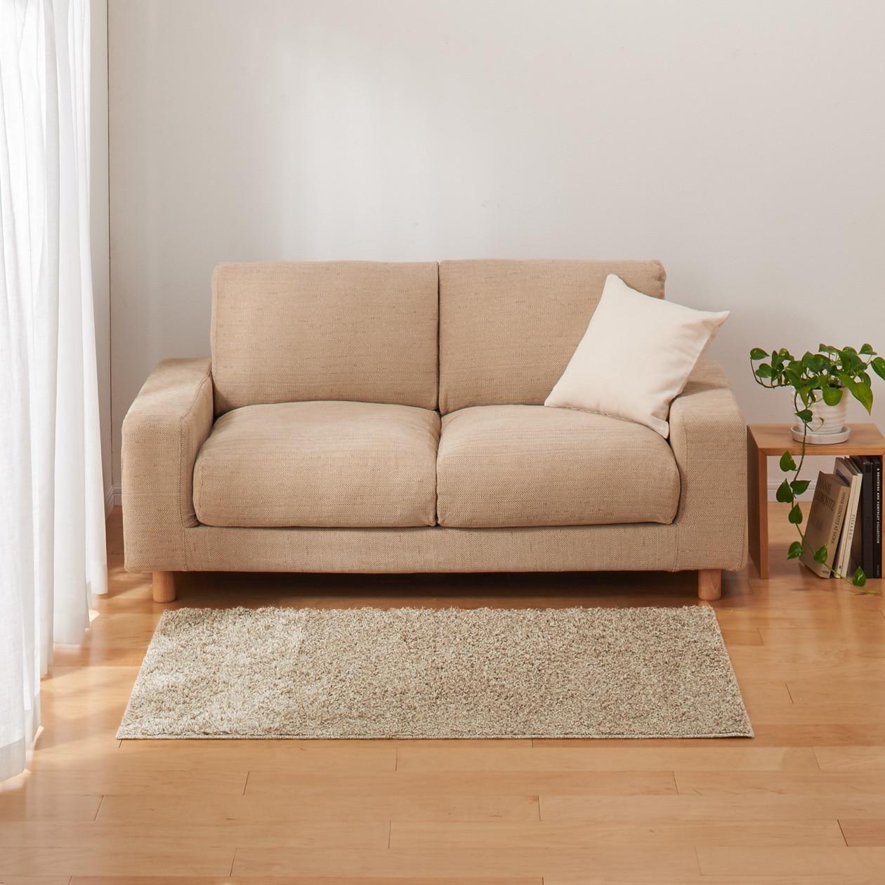 綿麻カットパイルラグ/ブラウン 100×140cm/ブラウン