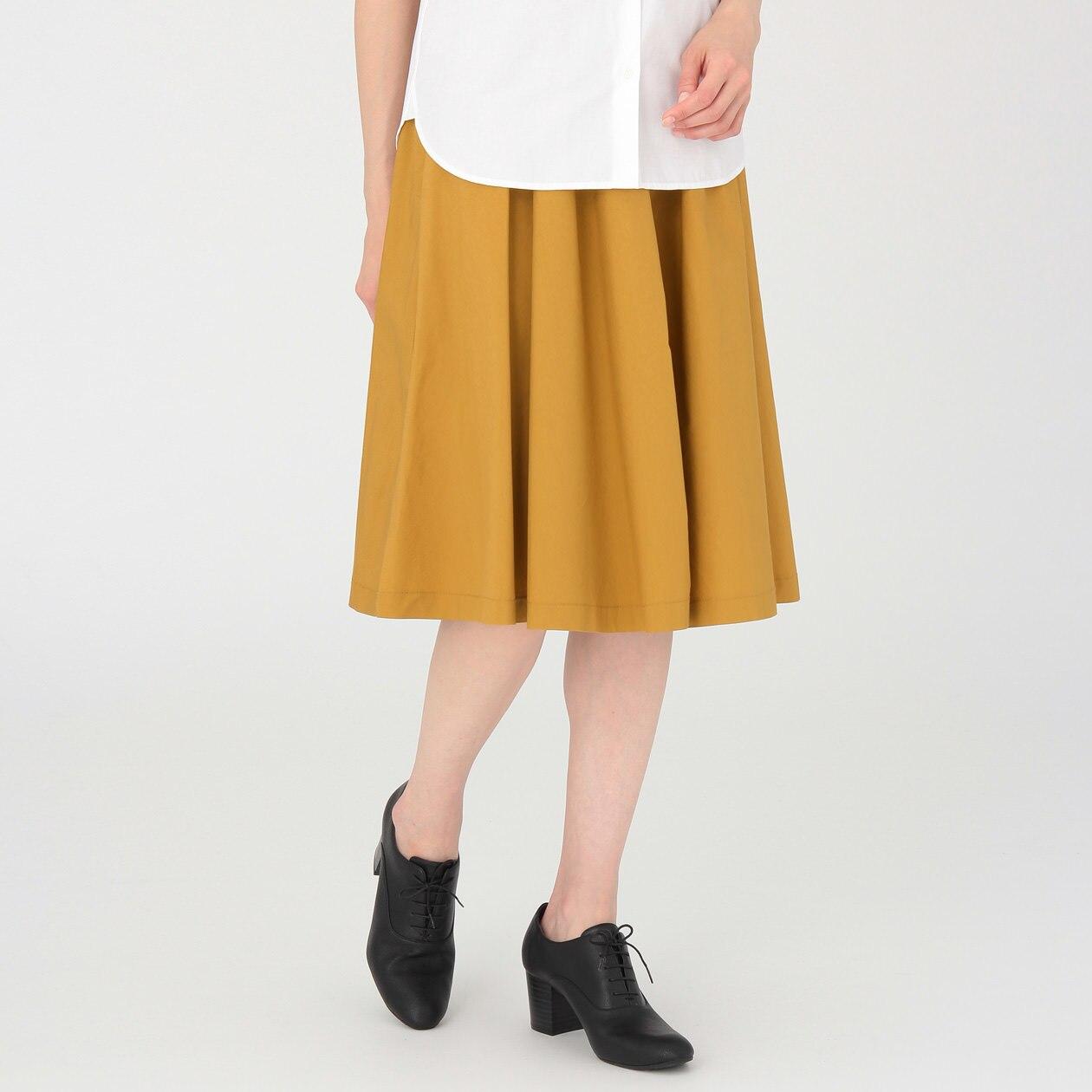 綿混ダンプイージーワイドギャザースカート