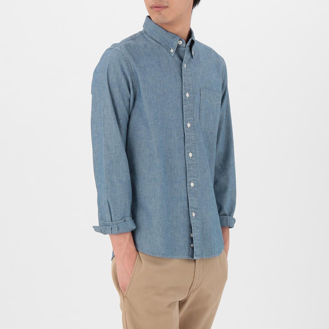 オーガニックコットンインディゴシャンブレーボタンダウンシャツ