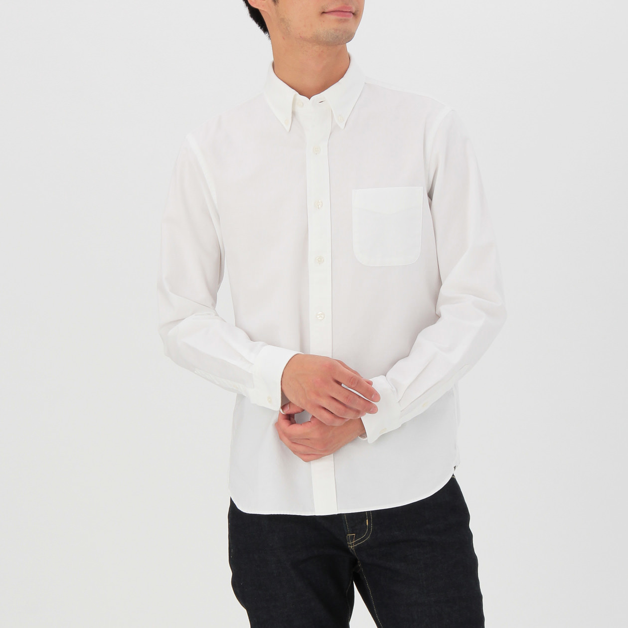オーガニックコットン洗いざらしオックスボタンダウンシャツ