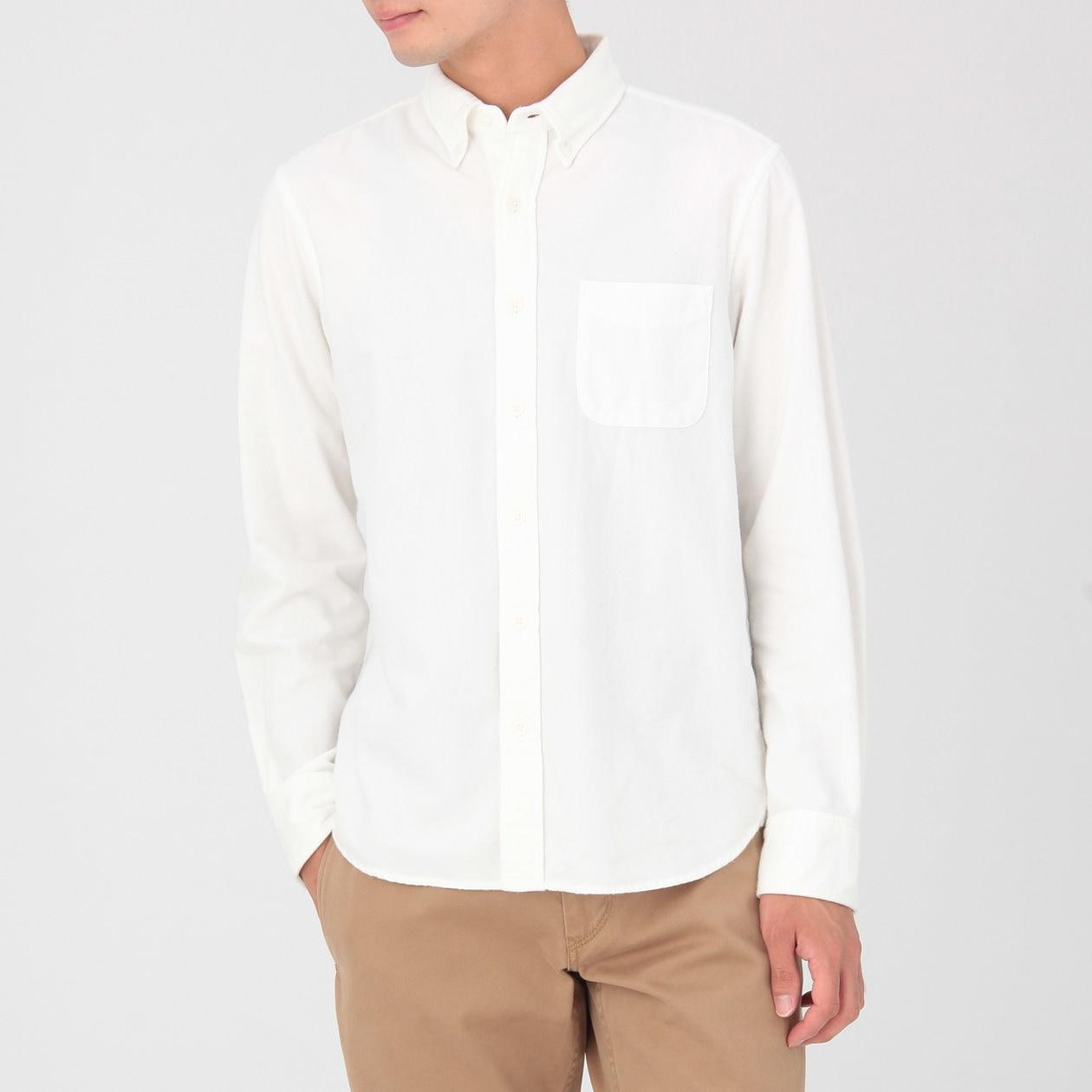 Men 39 S Organic Cotton Flannel Button Down Shirt Muji