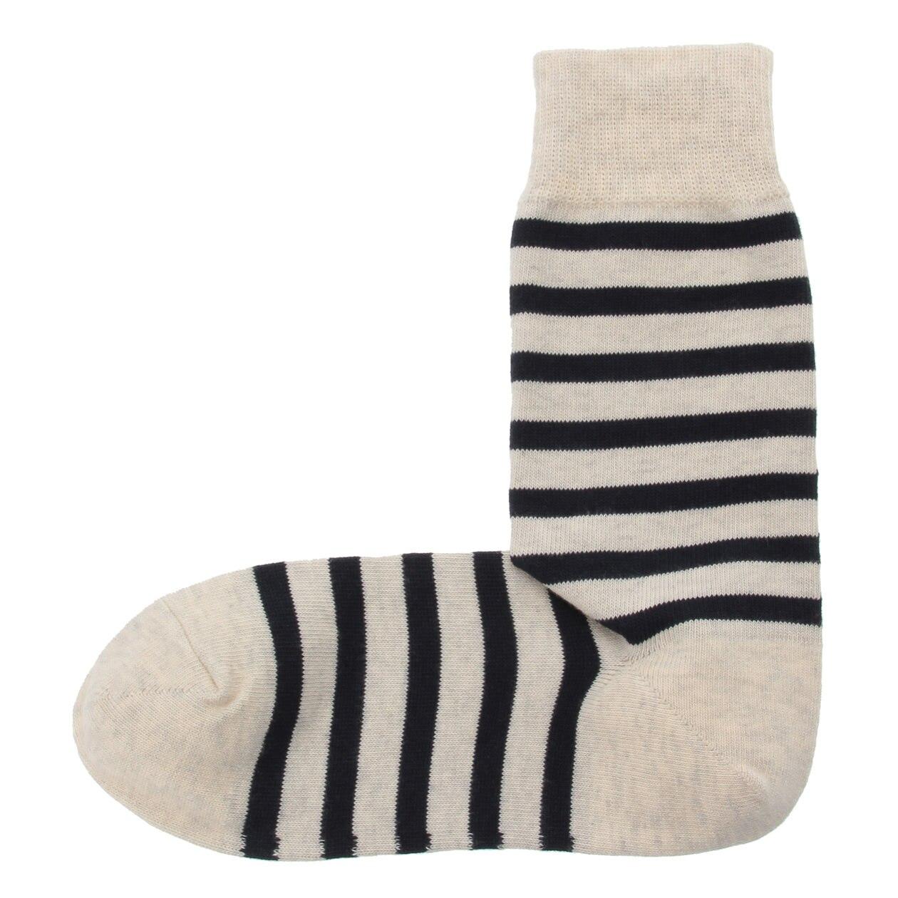 オーガニックコットン混足なり直角 ワイドボーダー柄靴下(紳士・えらべる)