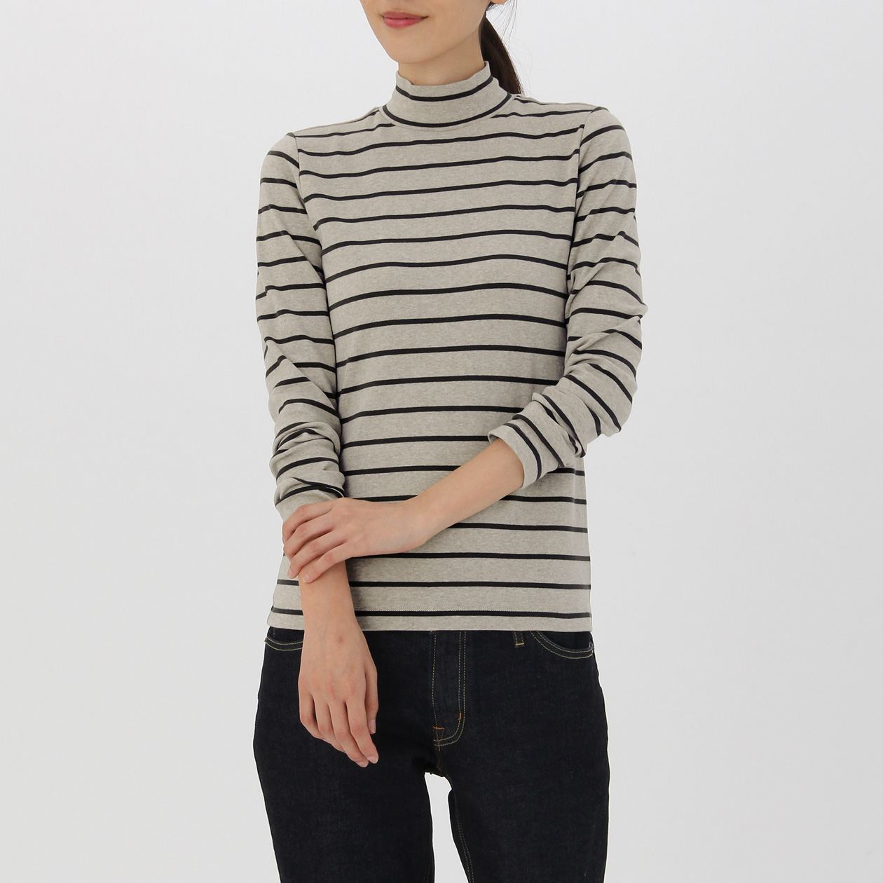 オーガニックコットンストレッチボーダーハイネックTシャツ