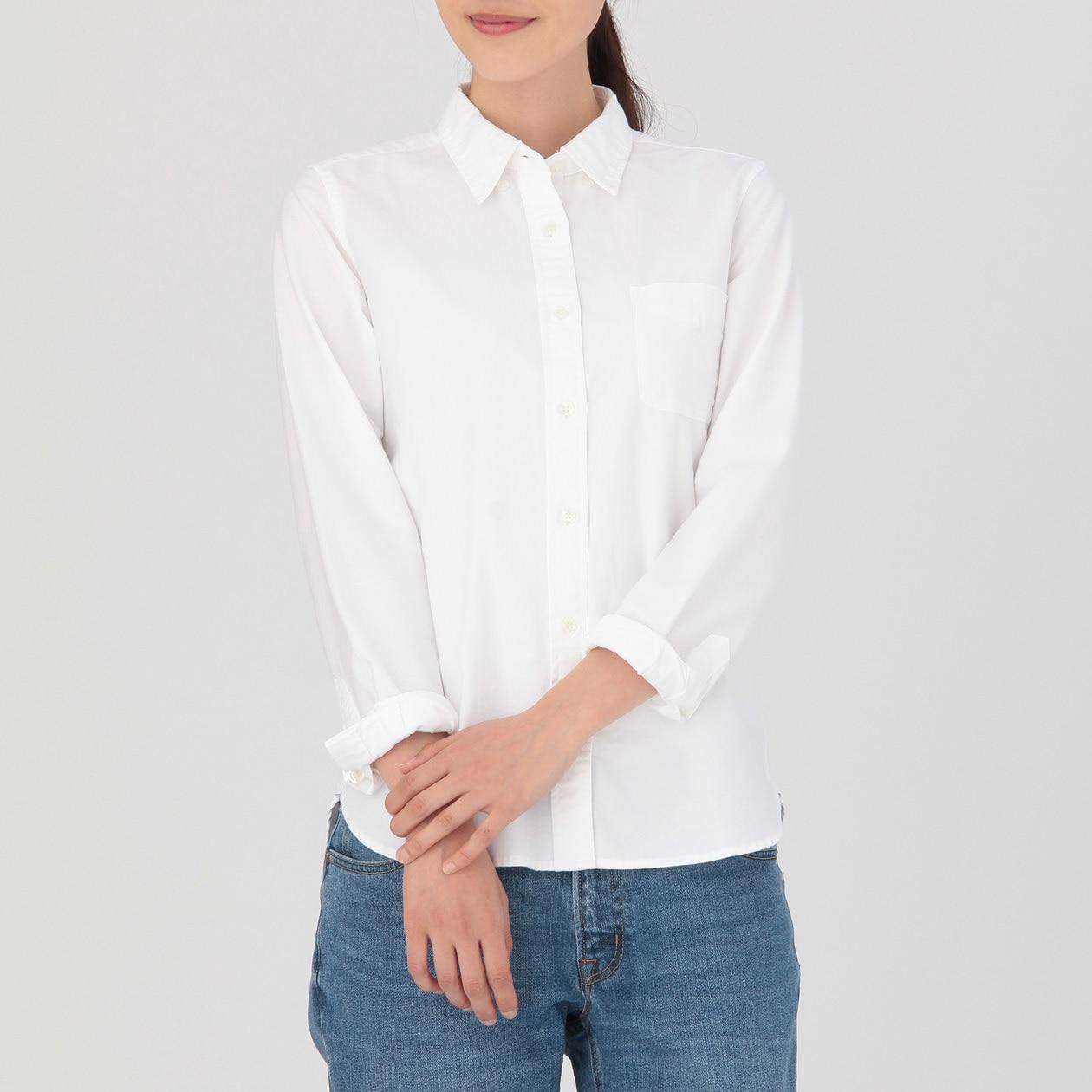 Ogc Washed Oxford Button Down Shirt Lady S White Muji