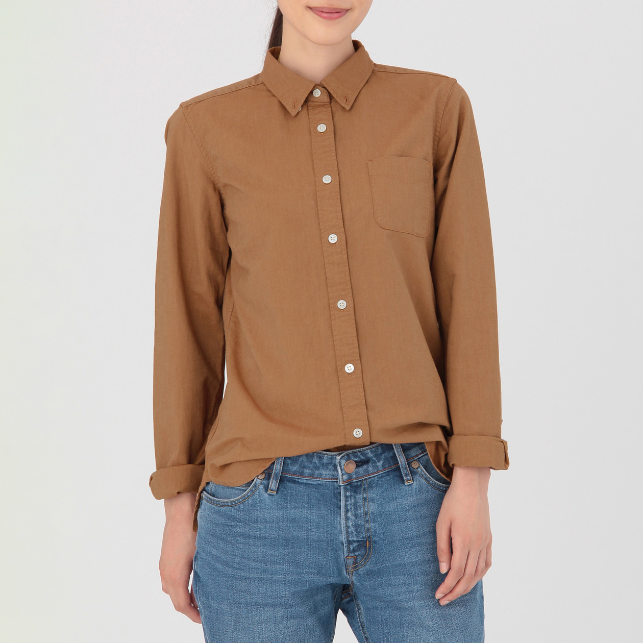 Ladies 39 organic cotton washed oxford button down shirt for Organic cotton button down shirts