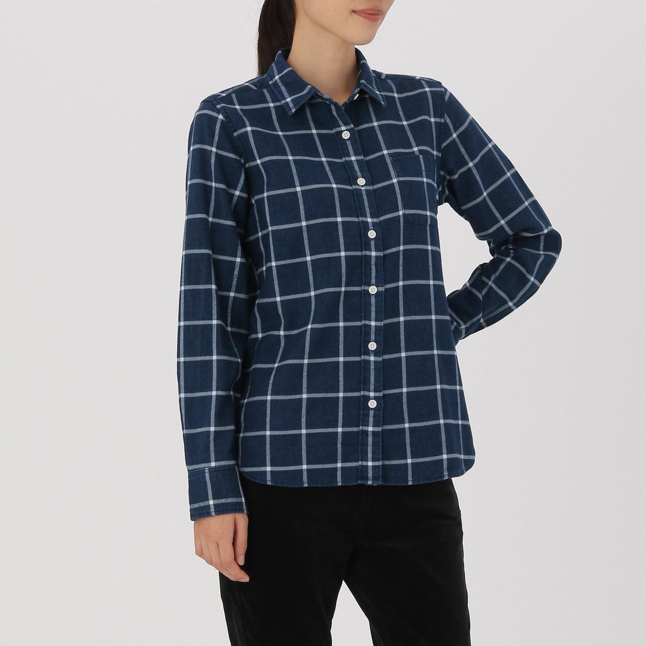 オーガニックコットンフランネルインディゴチェックシャツ