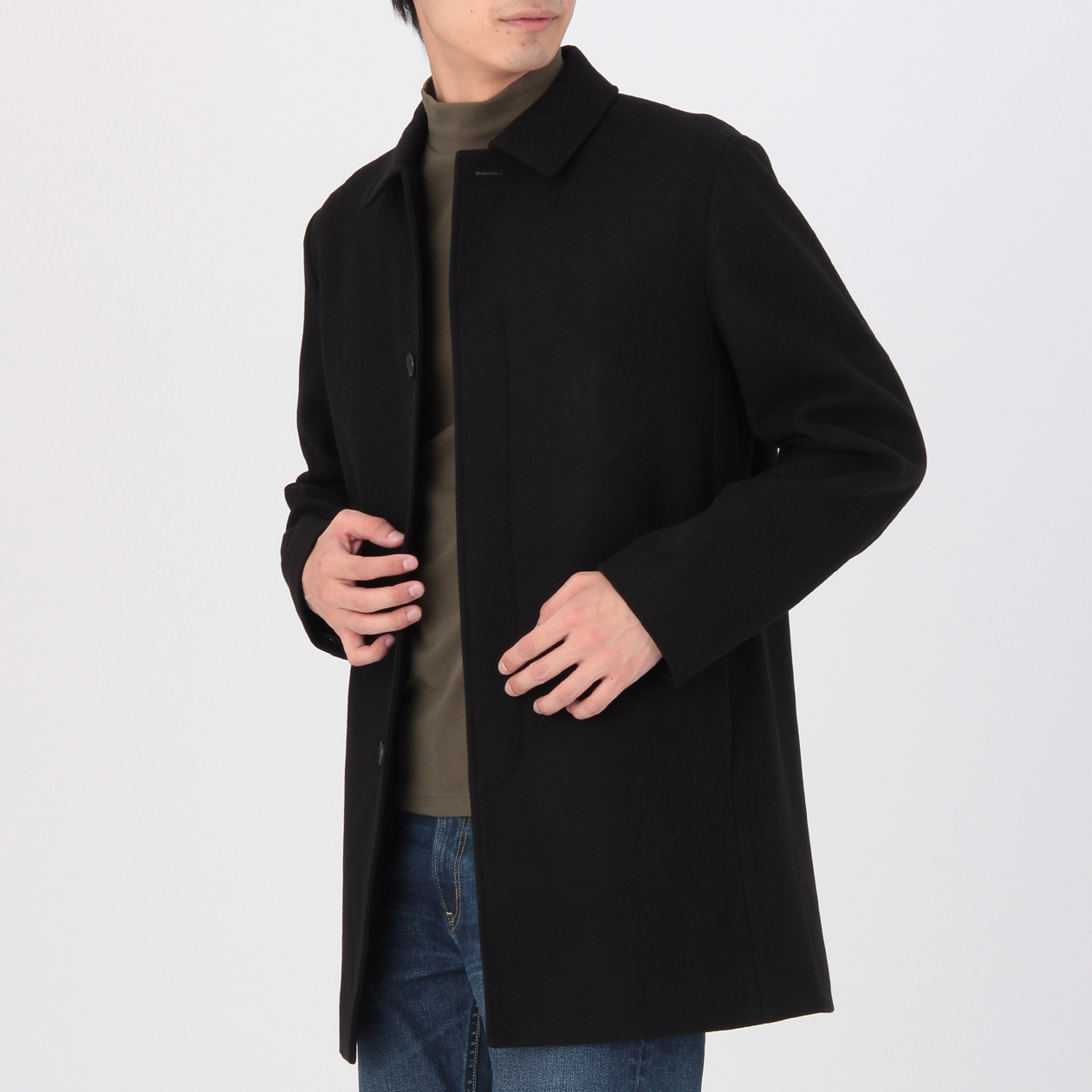men 39 s yak mix melton stand fall collar coat muji. Black Bedroom Furniture Sets. Home Design Ideas