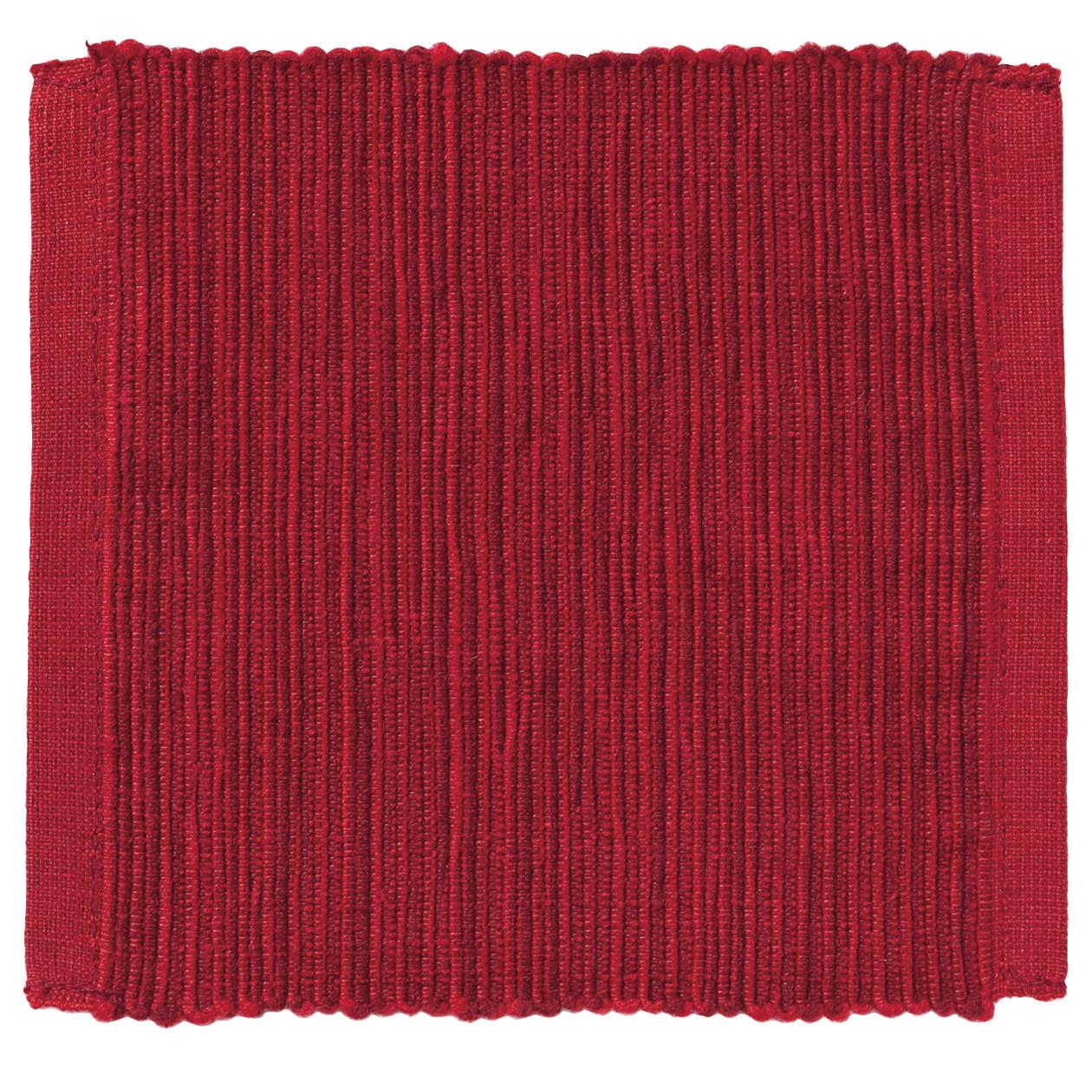 インド綿手織コースター/レッド