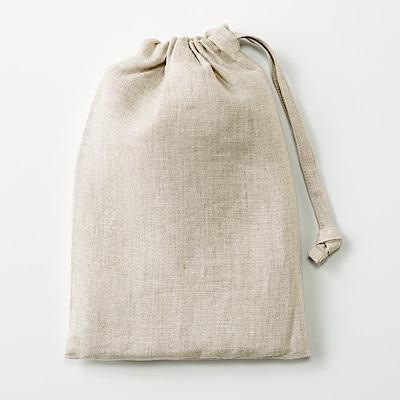 麻平織 肩クロスエプロン 生成 身丈約90cm・巾着付 コンビニ受取可