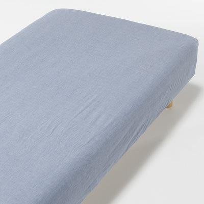 オーガニックコットン洗いざらしボックスシーツ・S/ネイビーの写真