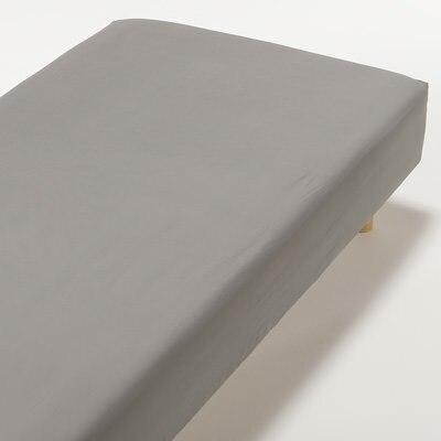 インド綿高密度サテン織ホテル仕様ボックスシーツQ/チャコール