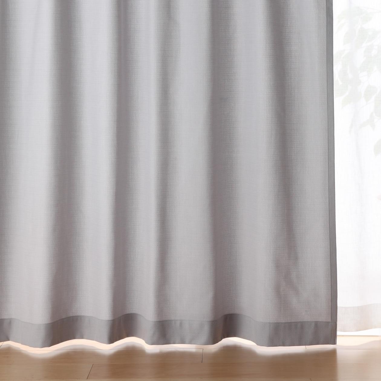 ポリエステル綿変り織プリーツカーテン/ライトグレー